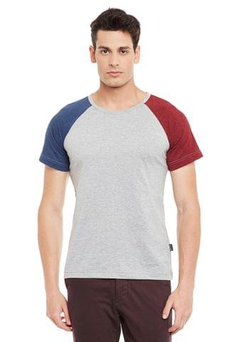Grey Short Sleeve Solid Round Neck Tee