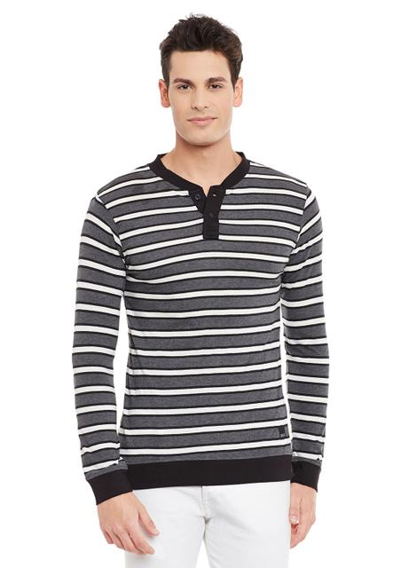 Charcoal Full Sleeve Striped Henley Neck Tee