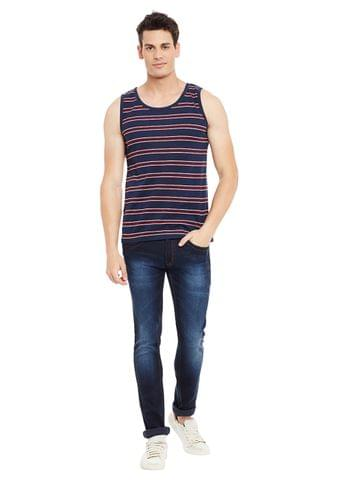 Maroon Striped Cotton Sleeveless Scoop Neck Slim Fit Vest