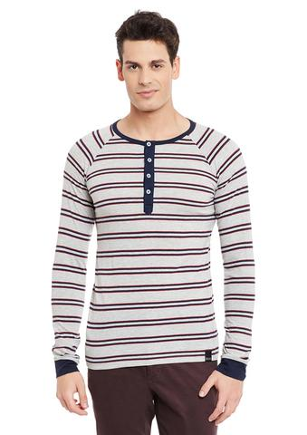 Grey Full Sleeve Striped Henley Neck Tee