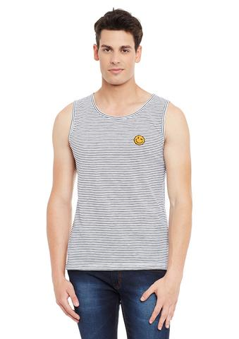 White Striped Cotton Sleeveless Scoop Neck Slim Fit Vest