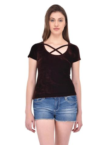Brown Velvet Cage Neck Top for women