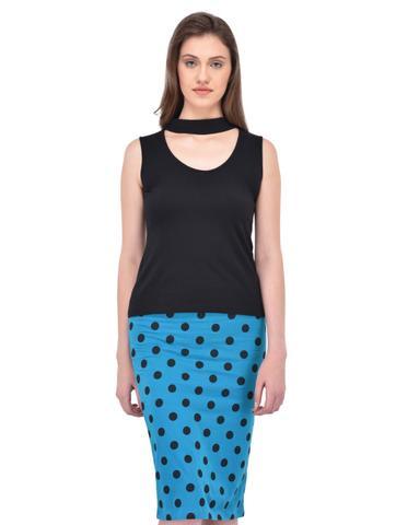 Black Choker Neck Sleevless Top for women