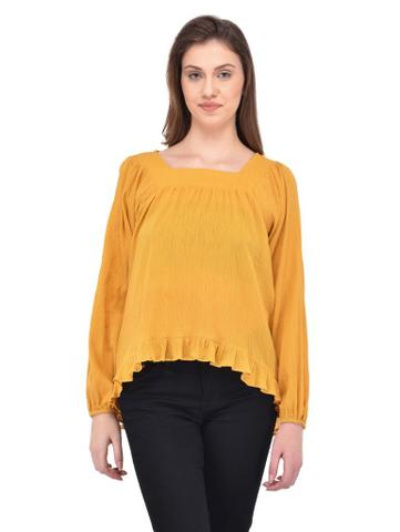 Crinkle Viscose Mustard Flare Top for women