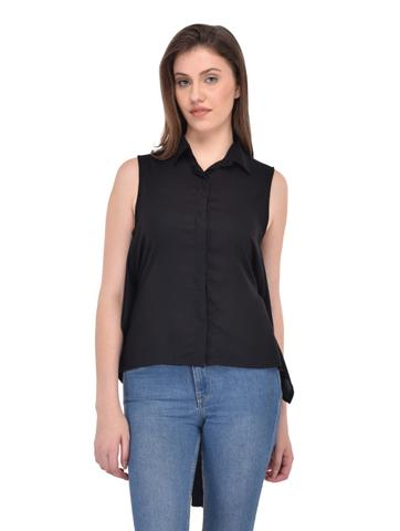 Black Rayon Back Tie Shirt Top for women