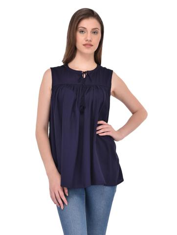 Navy Blue Flare Top with Neck Tie for women