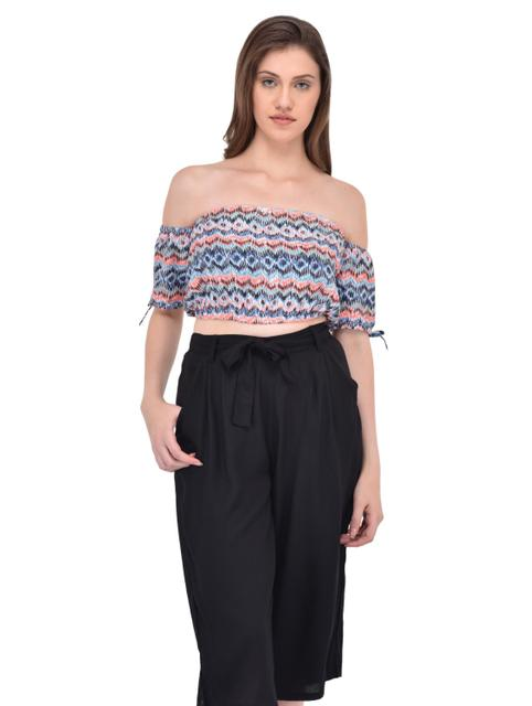 Abstract printed off shoulder crop top for women