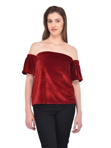 Maroon Colored Velvet Bardot Top for women