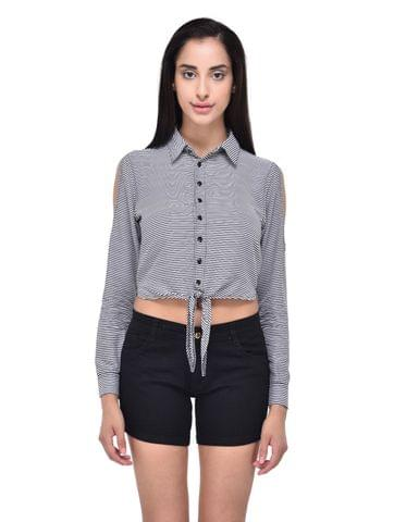 Striped Cold Shouler Crop Shirt for women