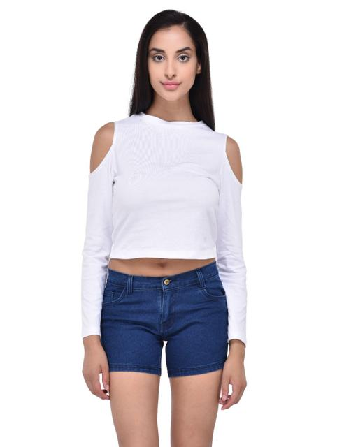 White Cold Shoulder Crop Top for women