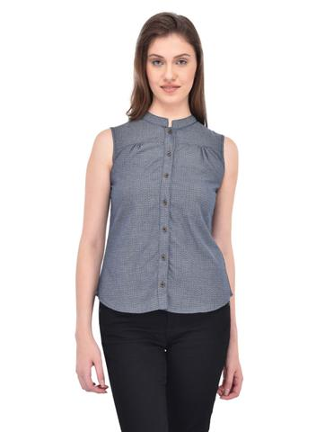 Abstract textured Blue Chambray Shirt for women
