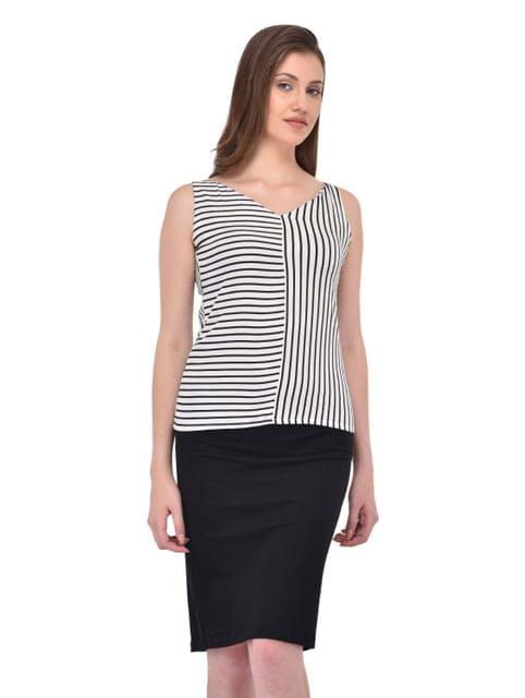 V Neck Stripe Top for women