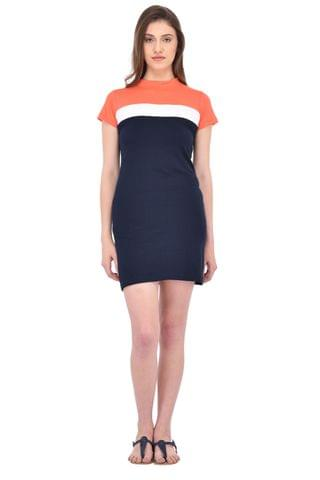 Orange and Blue Bodycon Dress for women