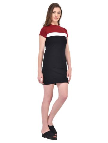 Maroon and Black Bodycon Dress for women