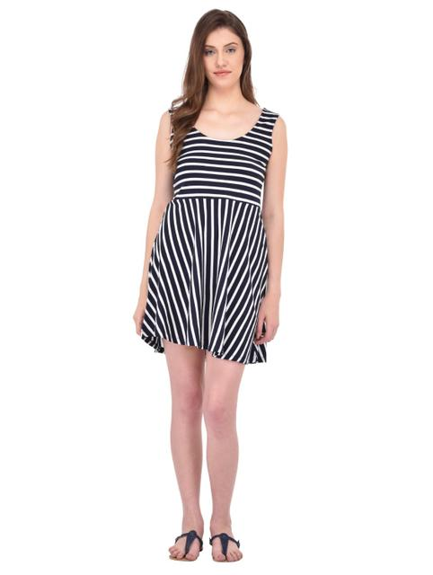 Navy and White Striped Swing Dress for women