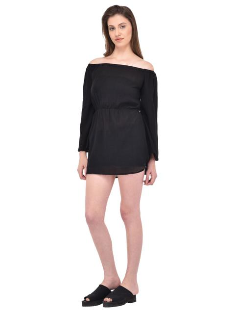 Crinkle Viscose Black Off Shoulder Dress for women