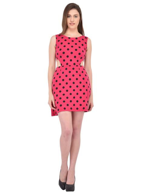Polka Dots Printed Pink Cutout Waist Dress for women