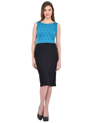 Turquoise and Black Polka dot print Bodycon Dress for women