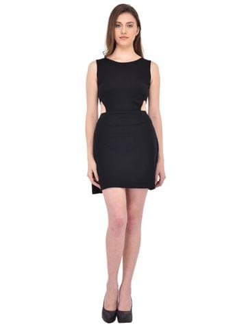 Black cutout waist Dress for women