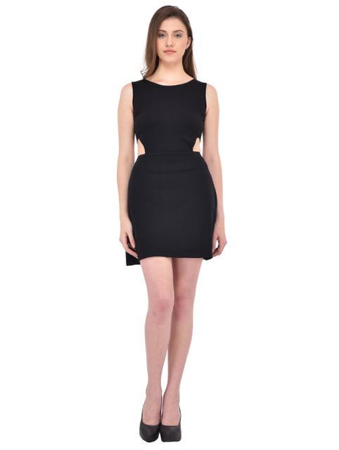 Black cutout waist Dress for women