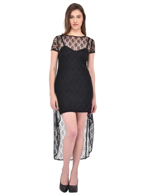 2-in-1 Black Floral Lace Dress for women