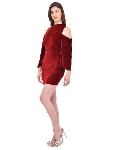 Maroon Velvet Cold Shoulder Dress for women