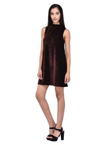 Brown Velvet Skater Dress for women