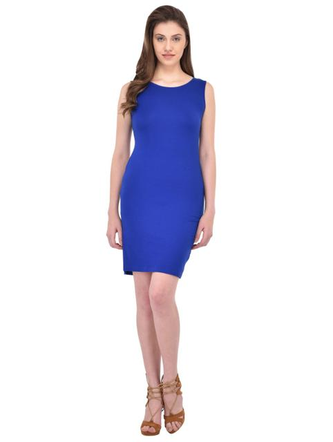 Royal Blue Bow Back Detailed Bodycon Dress for women