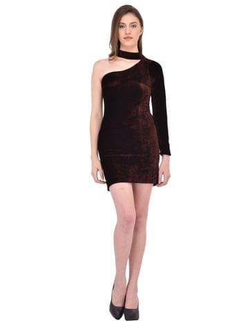 Brown Velvet One Shoulder Bodycon Dress for women