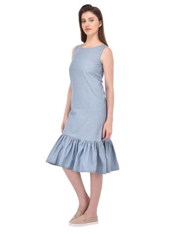 Gathered Hem Chambray Dress with Side Pockets for women