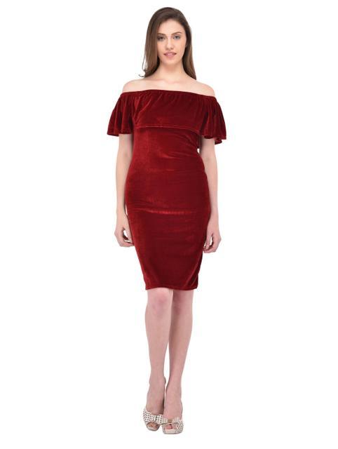 Maroon Velvet Flare Bardot Dress for women