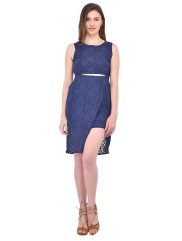 Blue Lace Bodycon Dress for women