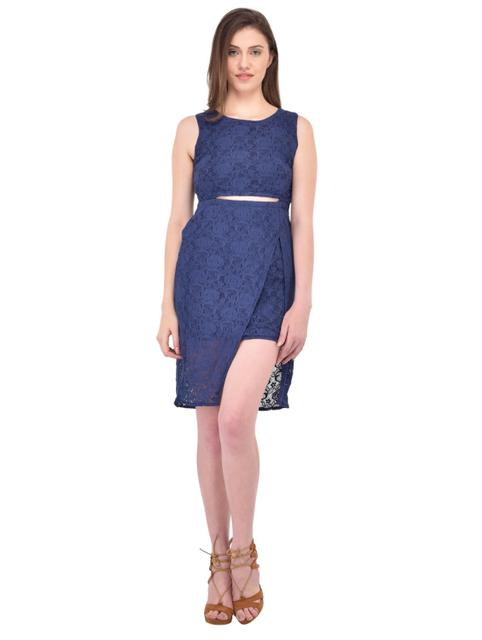 Blue Lace Bodycon Dress for women