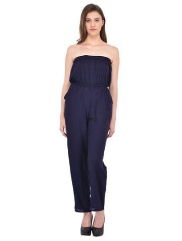 Navy Blue Off Shoulder Jumpsuit for women