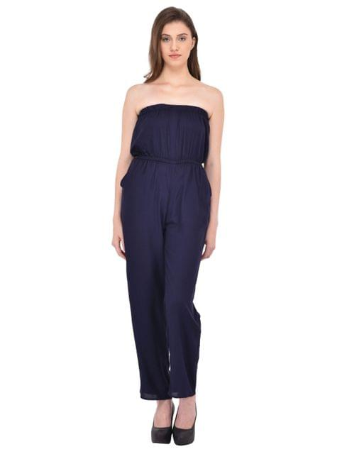 Navy Blue Off Shoulder Jumpsuit for women