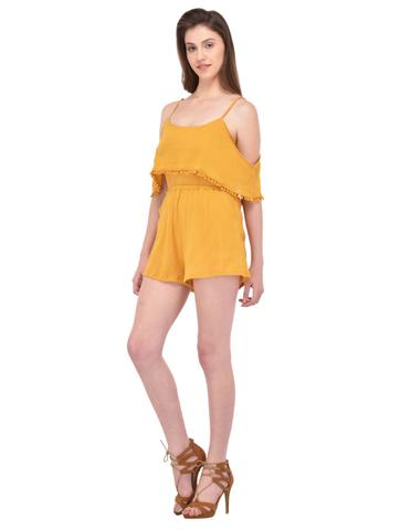 Crinkle Viscose Mustard Playsuit for women