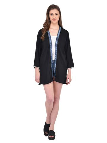 Black Longline Shrug with Lace trimmed Edges for women