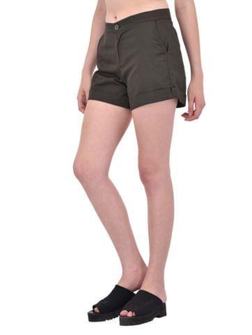 Khaki Cotton Twill Shorts for women