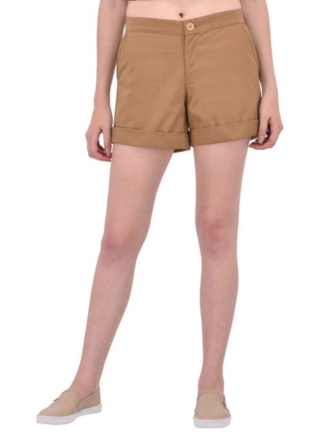 Beige Cotton Twill Shorts for women