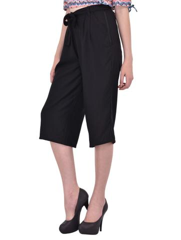Black Culottes with Tie Belt for women