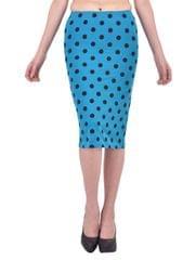 Black Polka Dot Print Turquoise Pencil Skirt for women