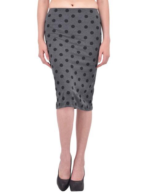 Black Polka Dot Print Charcoal Grey Pencil Skirt for women