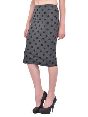 Black Polka Dot Print Charcoal Grey Pencil Skirt for women