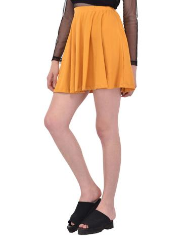 Solid Mustard Yellow Flare Skirt for women