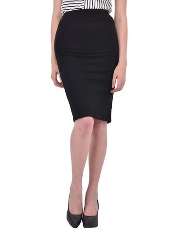 Solid Black Pencil Skirt for women