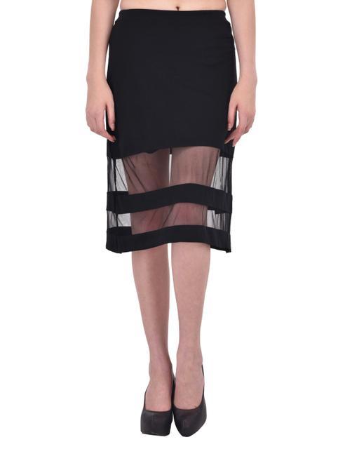 Mesh Panel Insert Black Midi Skirt for women