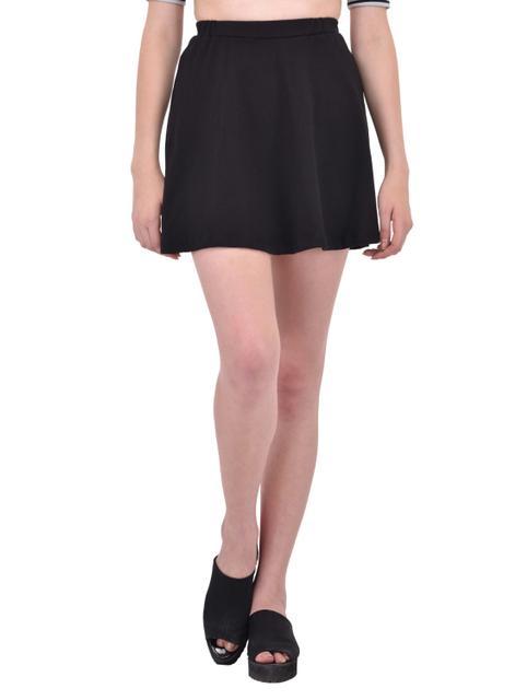 Solid Black Skater Skirt for women