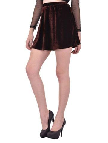 Brown Velvet Skater Skirt for women
