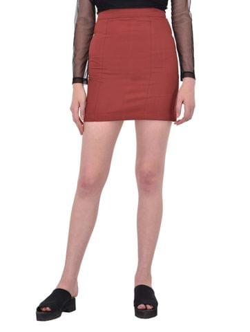 Maroon Cotton Twill Mini Skirt for women