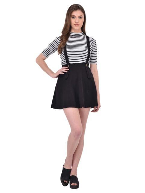 Black suspender skater skirt for women